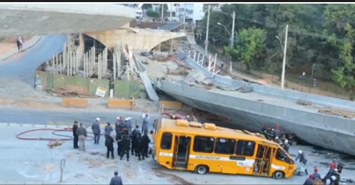 Moment Brazil bridge collapses near World Cup stad
